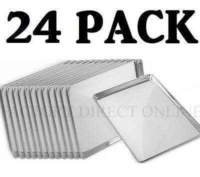 24 Pack Full Size Aluminum 18 X 26 Bun Sheet Baking Pan Wire In Rim Commercial