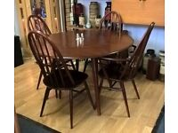 Vintage retro Ercol drop leaf table and four chairs