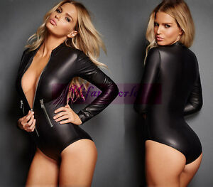 Sexy Women Lingeire Black Long Sleeve PVC Wet Look Zipper Bodysuit Catsuit Teddy