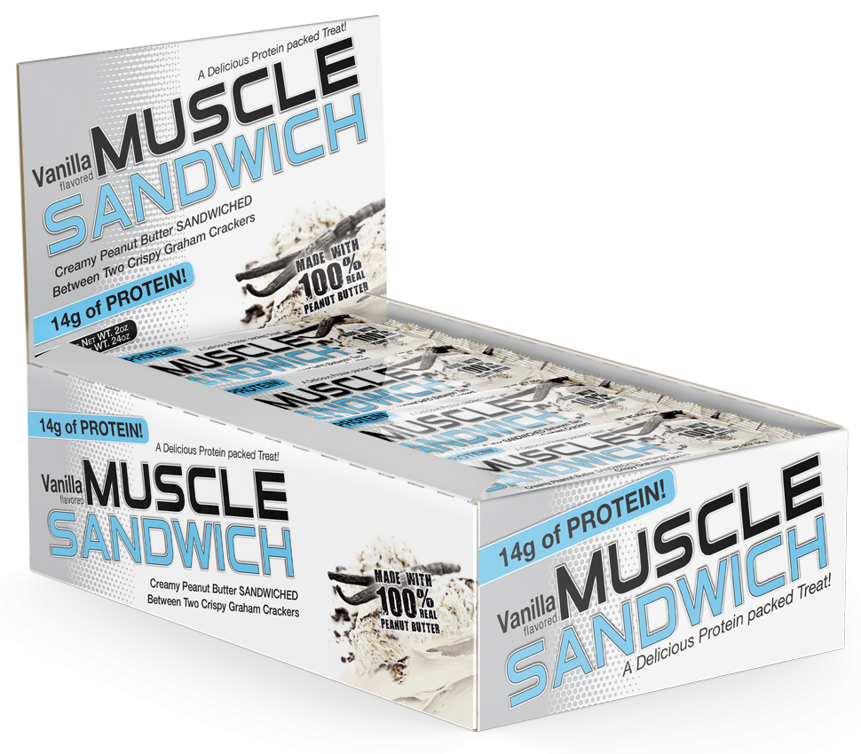 Muscle Foods MUSCLE SANDWICH High Protein Candy Bar - Boxes of 12 Bars - 04/2022