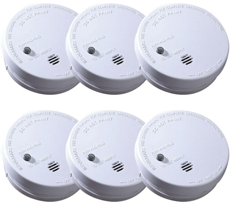 Smoke Alarm Detector Ionization Sensor Battery Operated Home Fire Safety 6-Pack