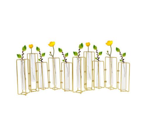 Set 10 Hinged Gold Bud Vase, Wedding Centerpiece, Round Single Flower Decor