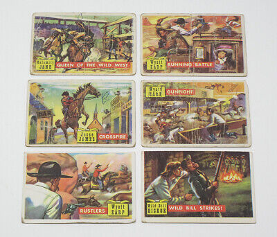 Lot of 6 1956 Topps Round-Up Vintage Trading Cards - Wyatt Earp - G to VG-EX