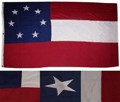 5x8 Embroidered Sewn 1st National Stars & Bars 7 Star 600D Nylon Flag 5'x8'