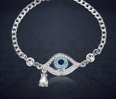 1.5ct 14K White Gold Blue Eye Diamond Women's Bracelet Tennis Bracelet Chain