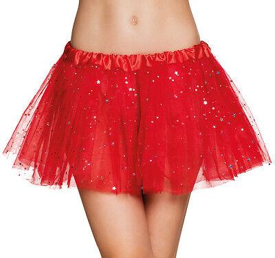 Shiny Star Tütü für Damen rot NEU - Zubehör Accessoire Karneval Fasching