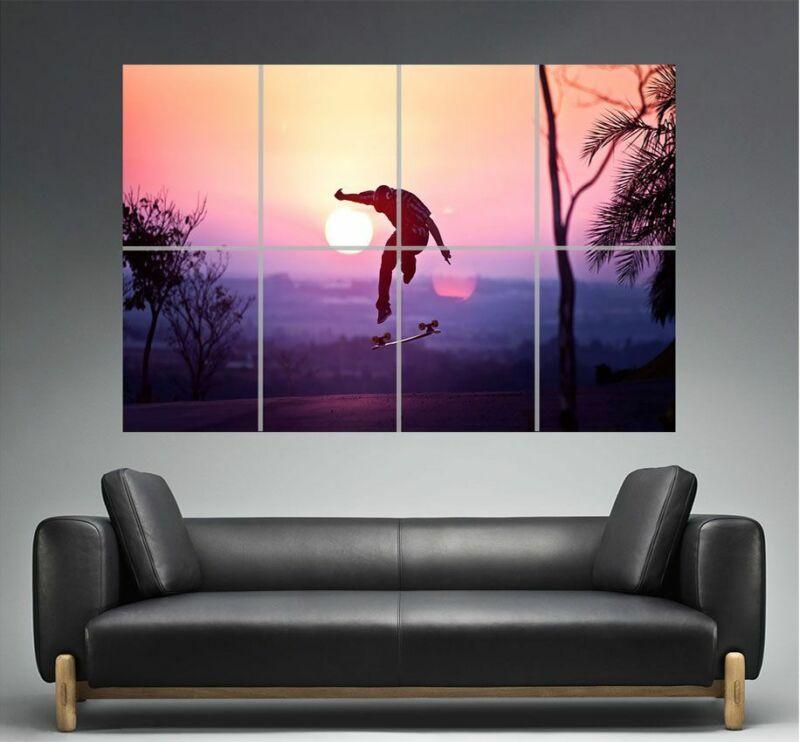 Skate Board Tricks Sunset Wall Art Poster Format