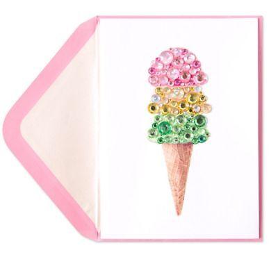Papyrus Gem Ice Cream Cone Happy Birthday Card -Gorgeous retail
