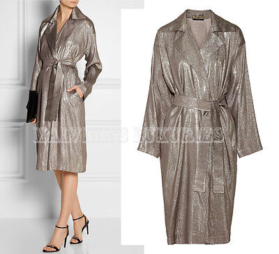 $3,000 GUCCI LAME TRENCH COAT SILVER WITH TIE BELT SILK BLEND IT 42 US 6