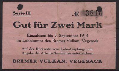 [18769] - NOTGELD VEGESACK, Bremer Vulkan, 2 Mark, -05.09.1914, Dießner 412.6E (
