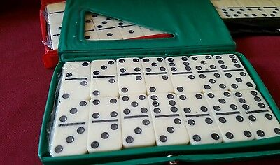 DOUBLE SIX DOMINOES SET OF 28 IVORY TILES with CASE