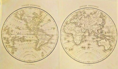 WESTERN HEMISPHERE & EASTERN HEMISPHERE 1825 RARE COLLECTIBLE FRAMEABLE.