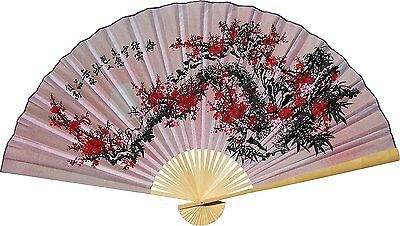 """Large 60"""" Folding Wall Fan -- Purity Blossoms -- Original Hand-painted"""
