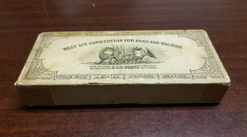 Antique 1890s J & P COATS SIX CORD SPOOL COTTON THREAD -  Hand Or Machine Purple
