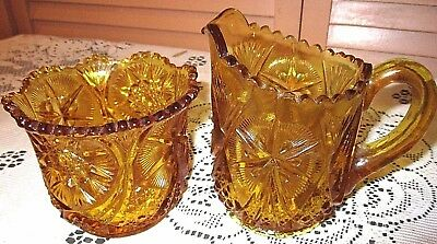 Vintage Pressed Amber Glass Large Cream & Sugar Bowl w SAW TOOTH EDGE