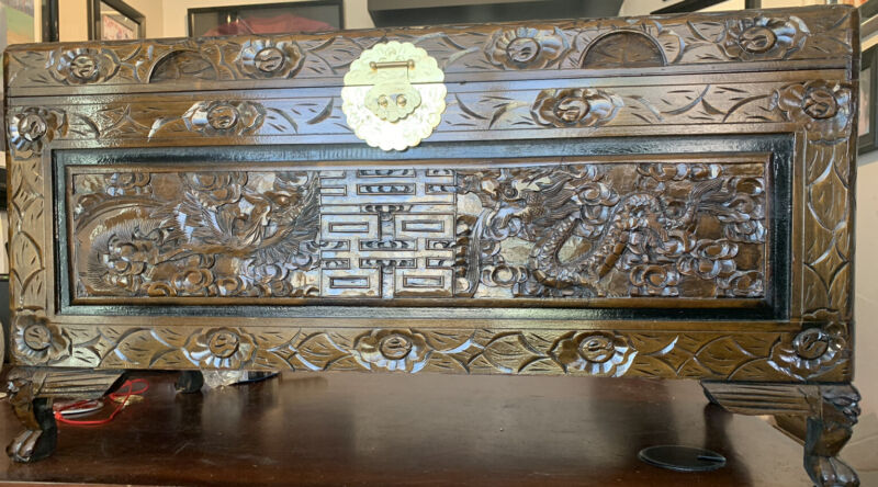 Beautiful Chinese Carved Wood Chest Trunk 35x17- Carved Dragons & Birds