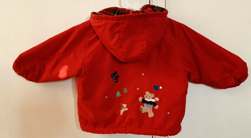 Vtg Girls Winter Jacket Japanese Brand Familiar Red Zipped Jacket 4T