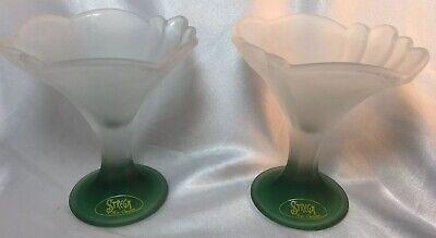 Strega Green & White Frosted Glass Ice Cream Dessert Sundae Flower Cup Dish-pair