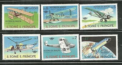 ST THOMAS AND PRINCE 528-33 MNH HISTORY OF AVIATION SCV 10.60