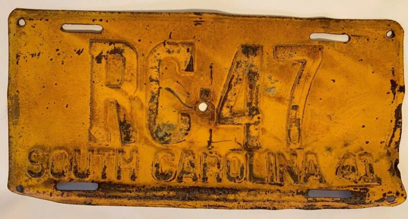 VINTAGE ANTIQUE 1941 SOUTH CAROLINA LICENSE plate