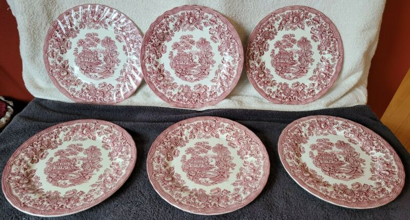 6 Vintage TONQUIN DINNER PLATES in Red Clarice Cliff Royal Staffordshire 10""