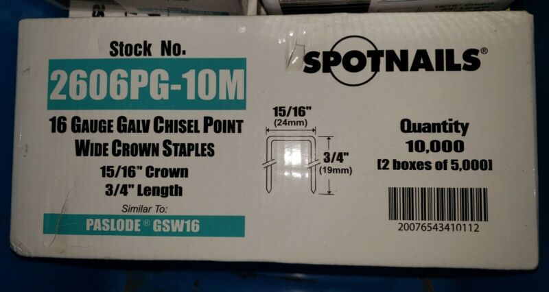 10000 Spotnails 2606PG 15/16 Wide Crown 16 Gauge 3/4 Staple GSW2600 Paslode Type