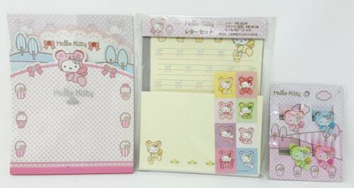 Sanrio Hello Kitty Bear Letterset Notepad & Clips Set