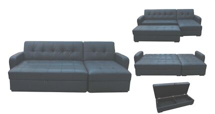 Black Sofa Bed with Chaise & Ottoman Special