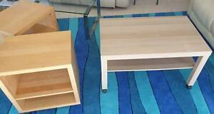 Coffee table and 2 x side/bedside tables
