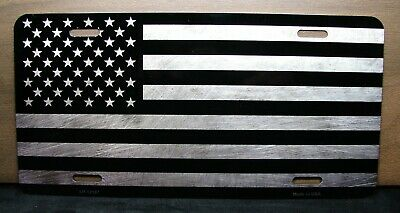 AMERICAN FLAG  METAL NOVELTY LICENSE PLATE BLACK GRAY TONE BRUSHED LOOK TACTICAL