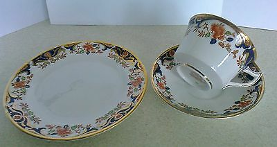 Vintage Royal Stafford bone china trio - side plate, teacup and saucer - imari s