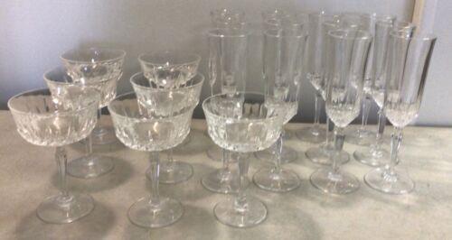 Set of 19 Luminarc Diamant 24% Lead Crystal Champagne Flutes & Sherbet Stemware