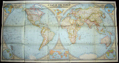 A MAP OF THE WORLD 1941 National Geographic Society - 41 x 22 inches
