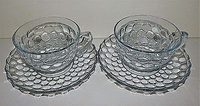 2 Anchor Hocking Glass Company Bubble Sapphire Blue Cups & Saucers Set Vintage