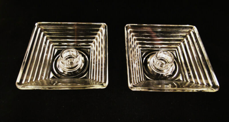 2 Manhattan Ribbed Square Deco crystal Candlesticks Candle Hocking Glass vintage