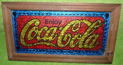 "Enjoy Coca Cola Sign Vintage Foil Stain Glass Look 13 x 71/2"""