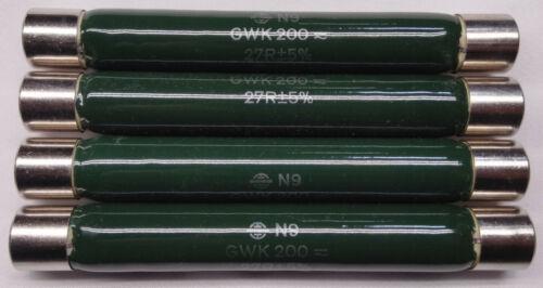 Siemens Vitreous Wirewound Resistors Ferrules Vishay GWK200 N9 27R+5%   Lot Of 4