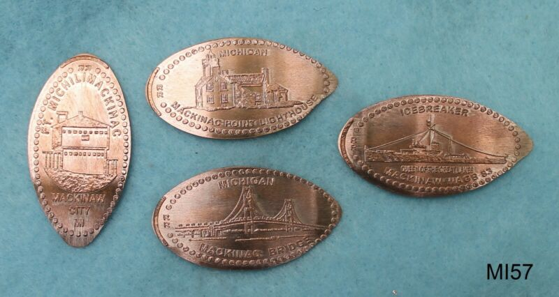 MI57 - 4 pressed/elongated pennies MICHIGAN - Fort Fudge Shop - Mackinaw City
