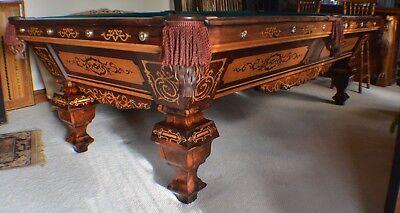 Antique Pool/Billiard Brunswick Emanuel Brunswick 9' Pool Table c1870s