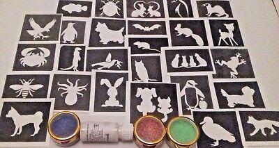 Cute & funny animal themed glitter tattoo set incl. stencils + glitter + glue