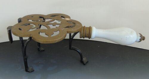 Antique Primitive Footman Trivet Hearth Pot Kettle Brass Milk Glass Handle Mrkd