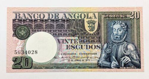 1973 Angola 20 Escudos P-104a Nice Crisp Uncirculated Banknote Winking King