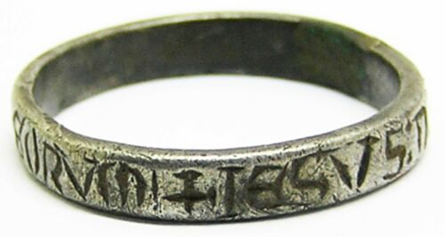 """13th century Medieval silver posy ring """"Jesus of Nazareth, King of the Jews"""""""