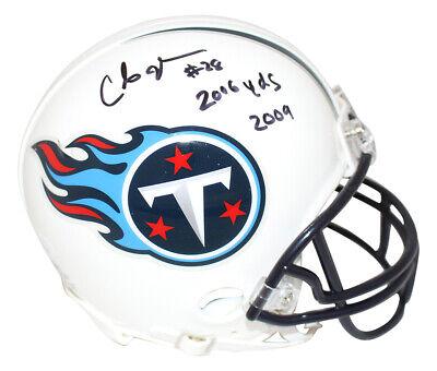 Chris Johnson Autographed Tennessee Titans Mini Helmet 2006 Yds JSA (Signed Titans Mini Helmet)