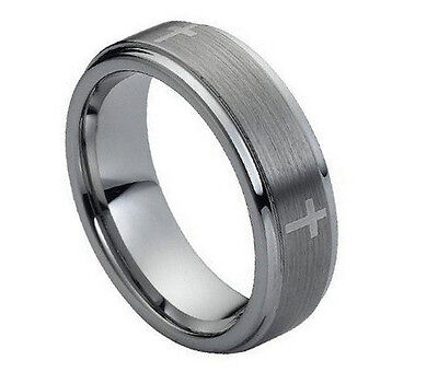 Wedding Band With Cross (7mm Men & Ladies Tungsten Carbide Step Edge With Cross Design Wedding Band Ring )