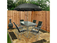BRAND NEW Garden Patio Furniture Set 6 Seater Dining Set Parasol Table And Chairs 8 Piece