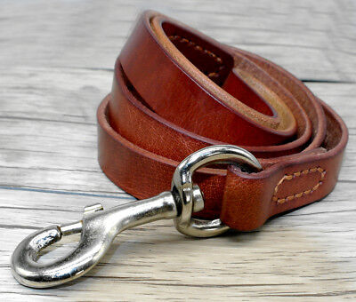 Brown Plain Best Leather Dog Leash for Medium Large Dogs Training Heavy