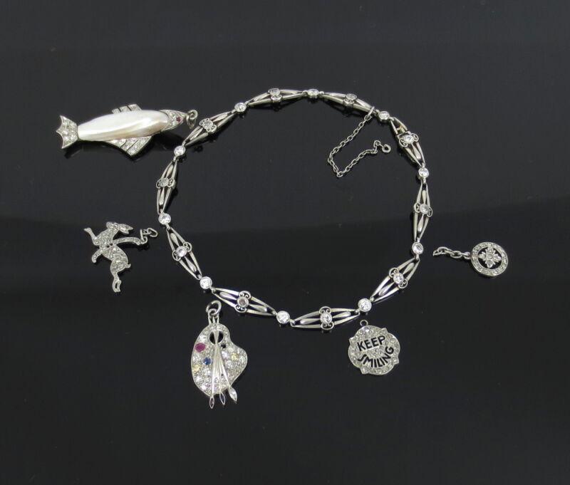 Edwardian 3.0ct Old Cut Diamond & Natural Pearl Platinum Filigree Charm Bracelet
