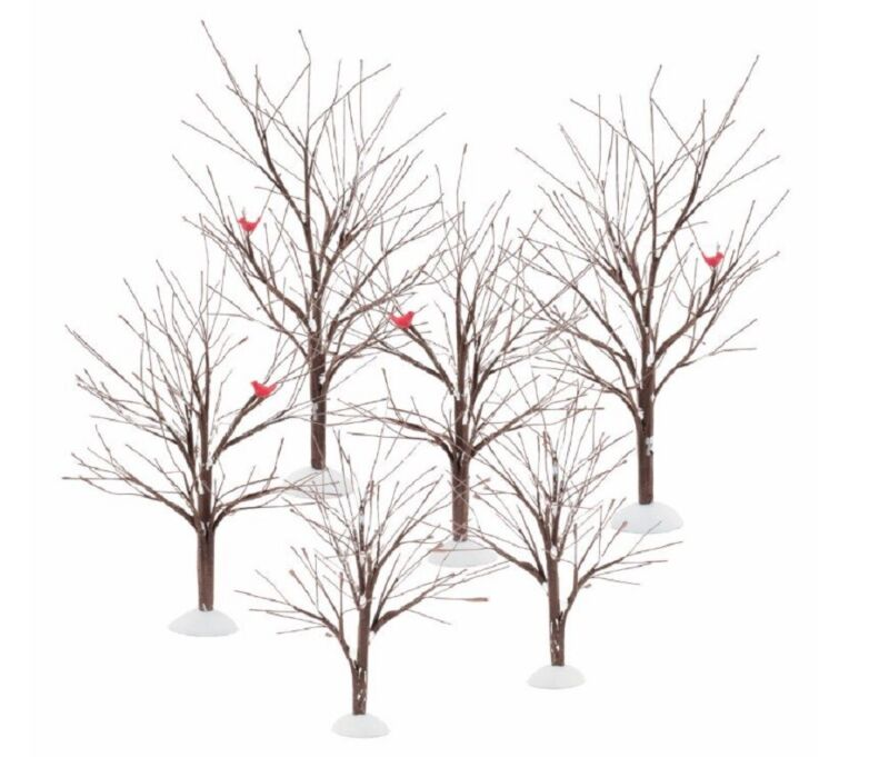 Department 56 Village Bare Branch Tree Accessory Figurine Set Of 6 56.52623 New