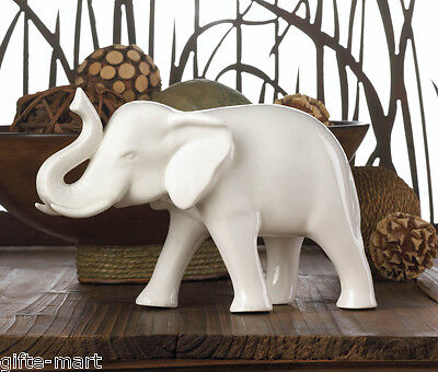 White Ceramic standing sculpture lucky RAISED TRUNK elephant figurine statue - Ceramic Elephant